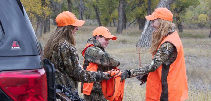 family wearing hunter orange