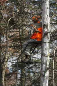 deer hunter in tree stand